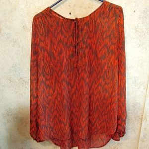 Allison Brittney Sheer Rust&Brown Tie Front Blouse